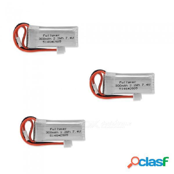 3 pcs 7.4v 300mah fullmax polímero de litio de alta potencia de baterías li-po para syma x8c x8w rc quadcopter - plata