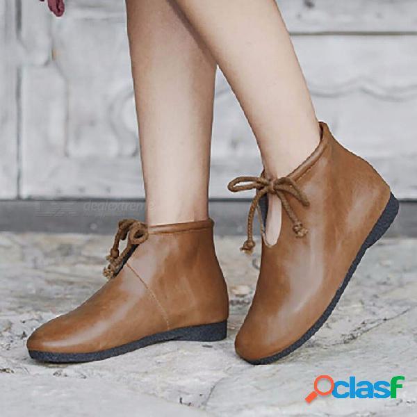 Botas de otoño de primavera con cordones de cuero genuino punta redonda cómodos zapatos planos botas para mujer negro / 34