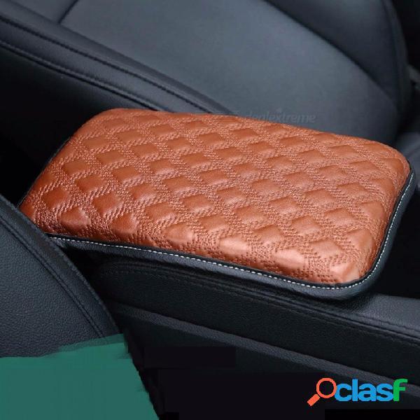 Caja del reposabrazos del coche pu almohadilla de esponja caja del reposabrazos central del coche cojín protector del automóvil estilo cubierta accesorios negro