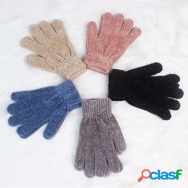 High quality gloves for women girl stretch knit soft gloves solid color mittens winter warm accessories