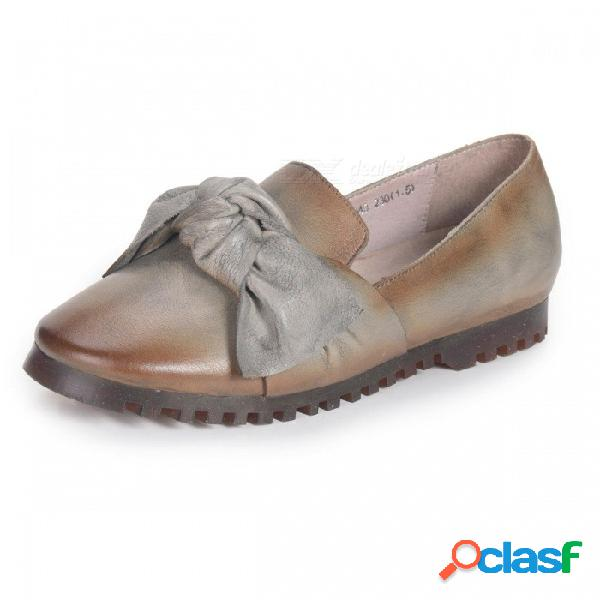 Primavera / otoño zapatos de mujer retro apliques de cuero genuino plana suave literaria punta redonda bowknot zapatos para mujer gris oscuro / 34