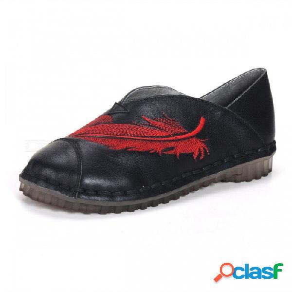 Primavera / otoño zapatos de mujer retro cuero genuino bordar impresión plana suave literaria punta redonda zapatos para mujer negro / 34