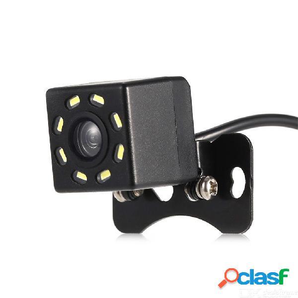 Quelima universal cámara de marcha atrás externa 8 luces led de visión nocturna 120 ° cámara de marcha atrás vista trasera del coche