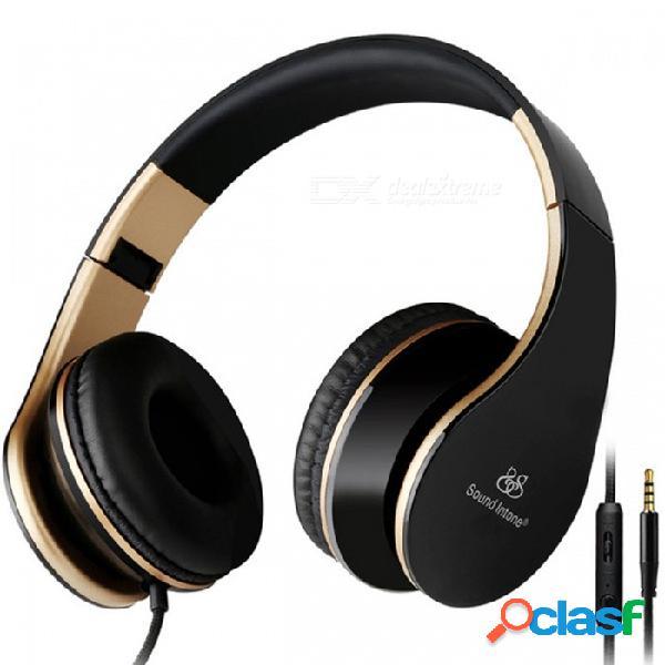 Sonido intone i65 auriculares con micrófono de 3,5 mm con micrófono desmontable y desmontable con micrófono - negro + dorado