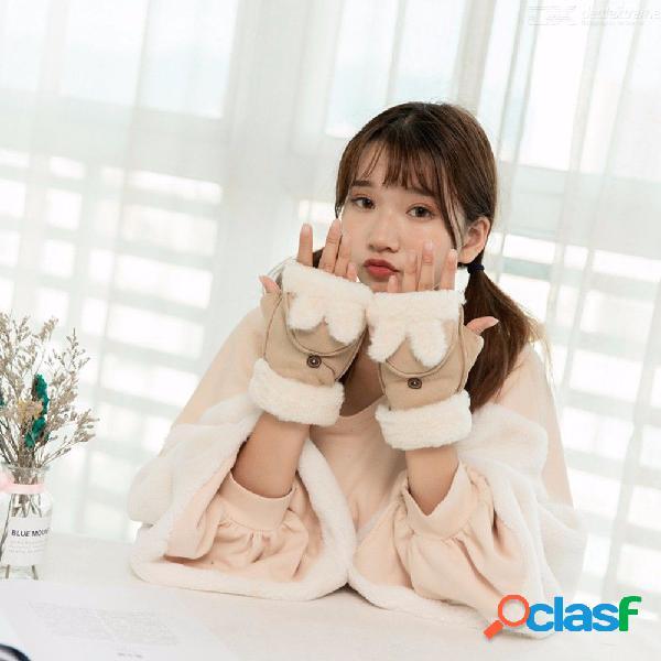 Winter plush thick warm cartoon rabbit half finger flip mittens fashion suede leather fur women warmer gloves