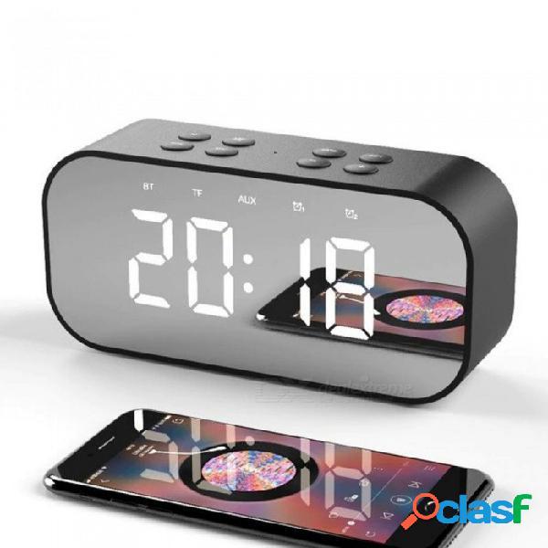 Altavoz bluetooth espejo de escritorio reloj despertador altavoz inalámbrico para smartphones notebook computadora mp3 decorar altavoces negro