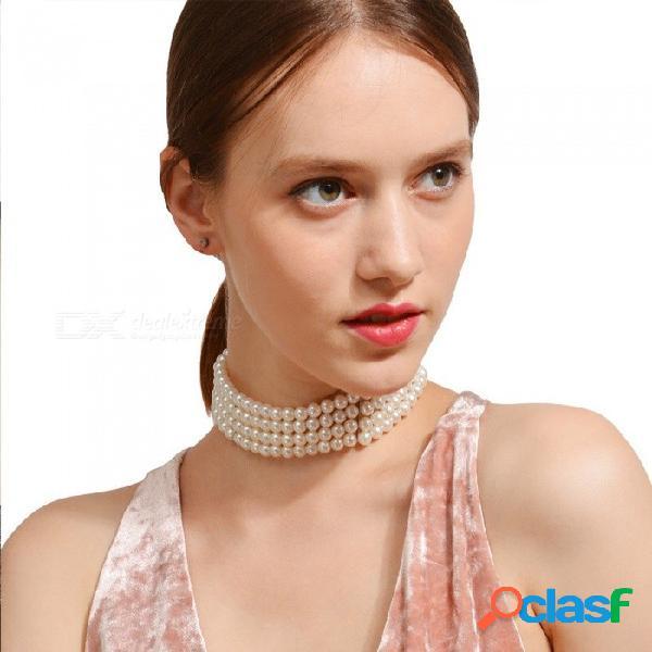 Collar de perlas de imitación blanca gargantilla collar de joyería para mujeres regalo de cumpleaños blanco