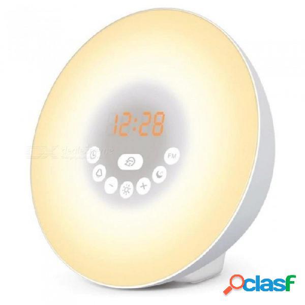 Despierta la luz del amanecer reloj de alarma de simulación con la función de puesta en sol y despertador luz de noche de cabecera 6 colores 7 sonido de alarma y la radio fm enchufe de los es