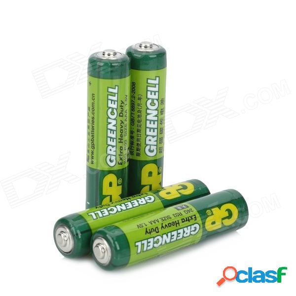 Gp no recargable de alta resistencia 400mah 1.5v aaa r03 baterías de zinc de carbono - verde (4 pcs)