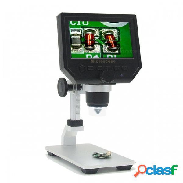 Pantalla lcd hd de 4.3 pulgadas hd 3.6mp microscopio electrónico con soporte de metal 600x multi idioma - negro + blanco