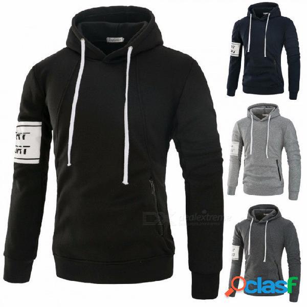 Parche de tela sudadera con capucha para hombre moda casual slim fit sudadera con capucha con bolsillos negro / m