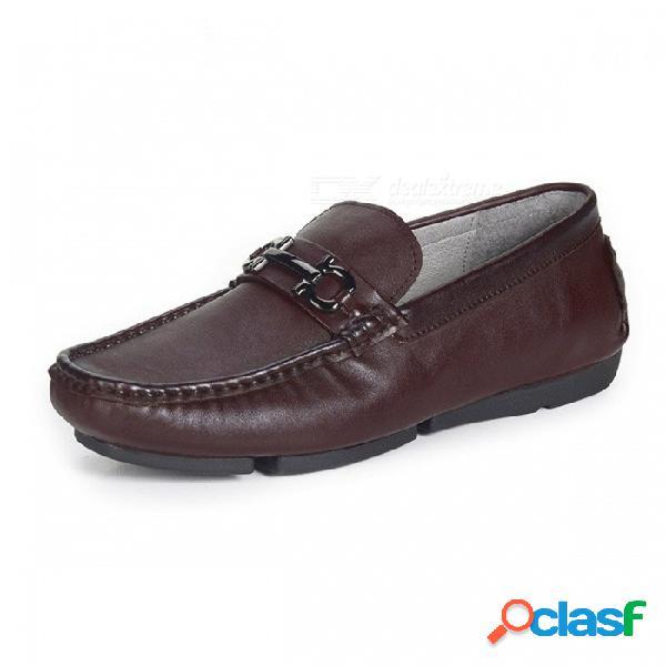 Zapatos retro de cuero genuino de otoño, zapatos casuales suaves para botes para hombres de mediana edad en marrón / 38