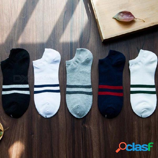 5 pares de algodón clásico tobillo barco calcetines de los hombres patrón de colores casual verano invisible calcetines masculinos set calcetines hombre