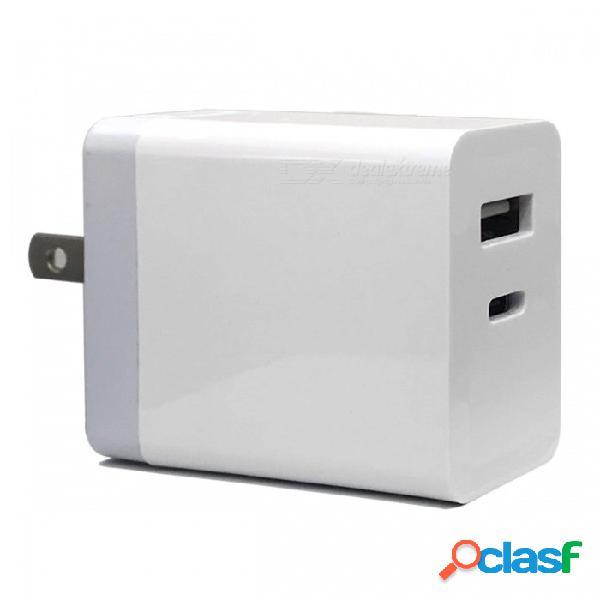 Cwxuan 30w usb type-c pd cargador de pared rápido con puerto usb 5v para macbook pro, iphone x 8plus, samsung xiaomi y más (enchufe de ee. uu.)