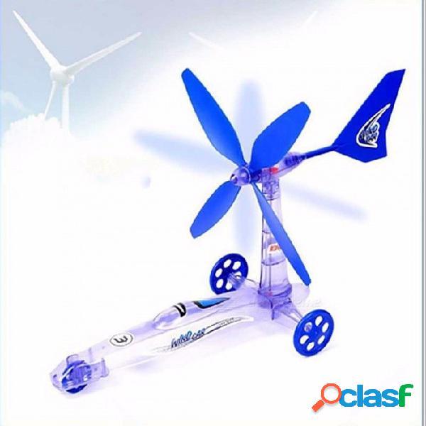 Educativo de los niños diy energía eólica coche eléctrico, juguete científico del experimento, juguete de enseñanza de la ciencia para niños azul