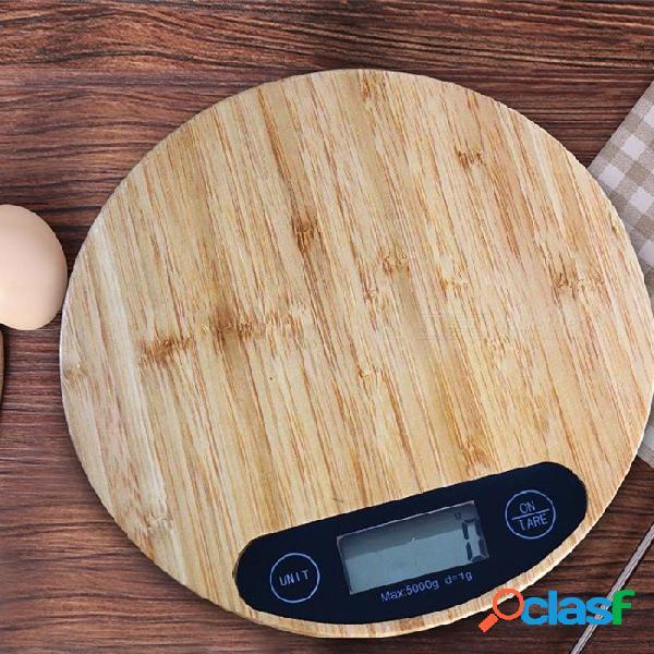 Escala de la balanza de la escala de la comida del grano de madera de bambú balanza electrónica de la cocina de 5kg escala de la balanza electrónica de madera