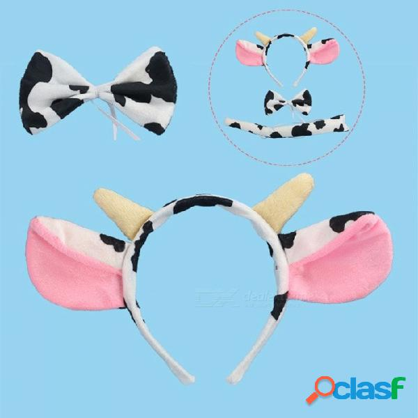 Juego de diadema de cosplay de animales de vaca de 3 piezas, patas de cola y pata de cola accesorios para el cabello para niños tocado de pelo multi / tamaño para todos