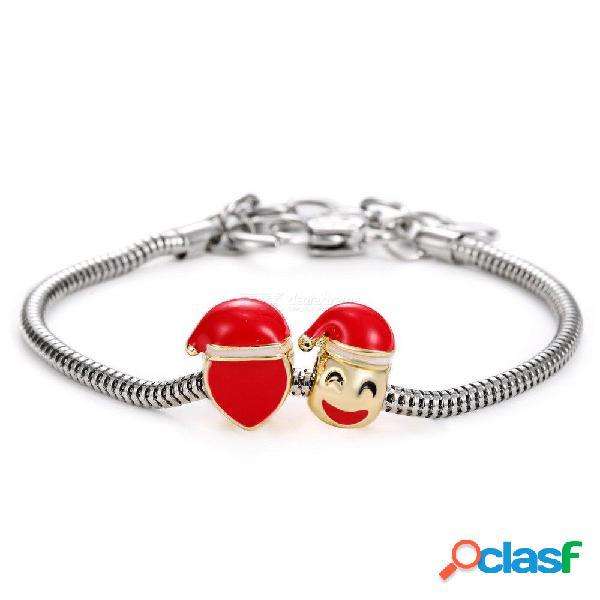 Nueva moda de aleación de perlas pulsera cara sonriente sombrero de navidad encanto pulseras joyería de moda