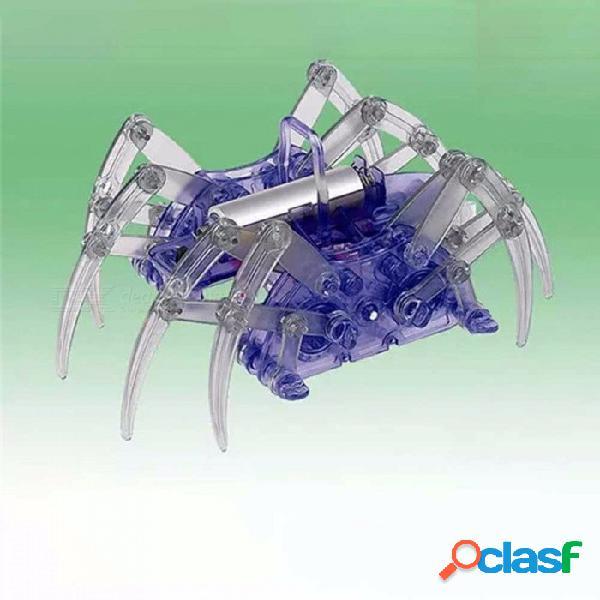 Robot eléctrico araña de juguete, ensamblaje de bricolaje kit de juguete educativo para niños, navidad halloween regalo de cumpleaños azul