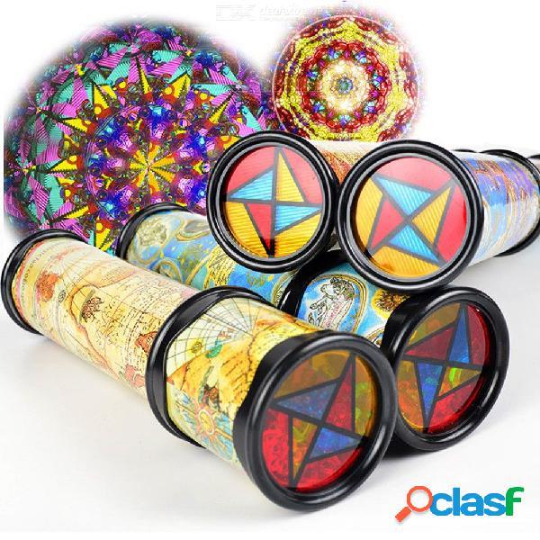 Tamaño pequeño juguetes para niños rotación extendida caleidoscopio mundo de color de lujo juguetes educativos al azar color