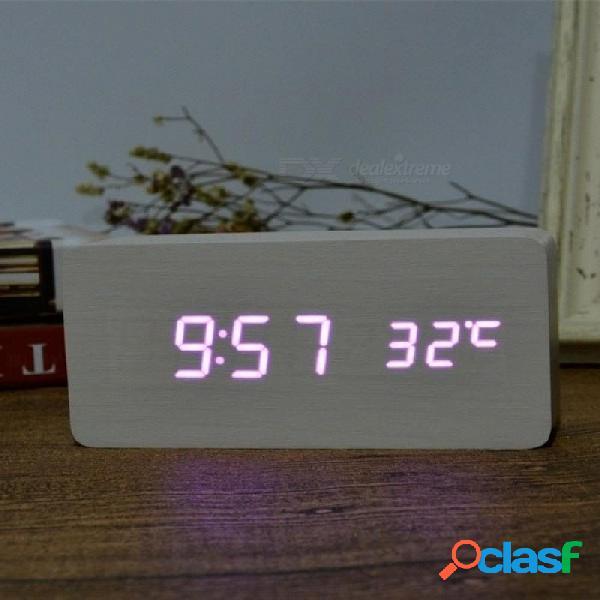 Termómetro despertador led reloj de mesa de voz digital reloj digital batería / usb power blanco y negro color opcional blanco blanco