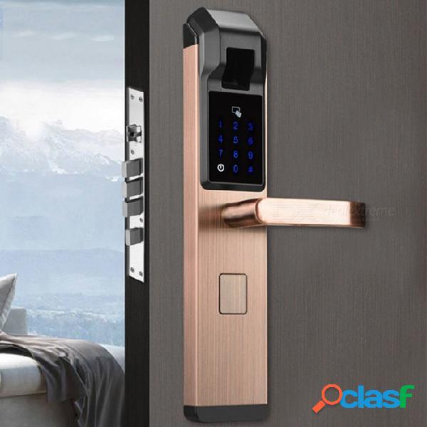 Zhaoyao contraseña de huella digital óptica bloqueo del hogar cerradura electrónica inteligente, huella digital + contraseña + tarjeta + clave - bronce