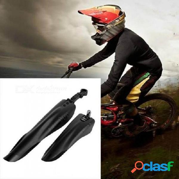 2 unids / set bicicleta guardabarros traseros mtb mountain road barro guardabarros guardias extraíbles alas tubo mantiene limpio negro