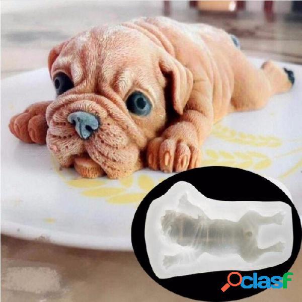 3d dog cake molde de pan de silicona shar pei dog style molde de chocolate hecho a mano jabón molde blanco