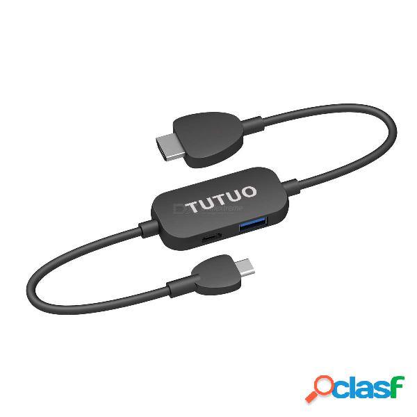 Adaptador tutuo cf010 usb c a hdmi con cable hdmi. concentrador usb c con usb 3.0 amp. puerto de distribución de alimentación usb c para el interruptor de nintendo.