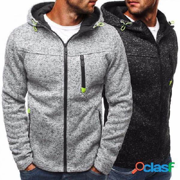 Cremallera de la moda para hombre sudadera con capucha polar sudadera con capucha slim fit con bolsillos para hombres negro / m