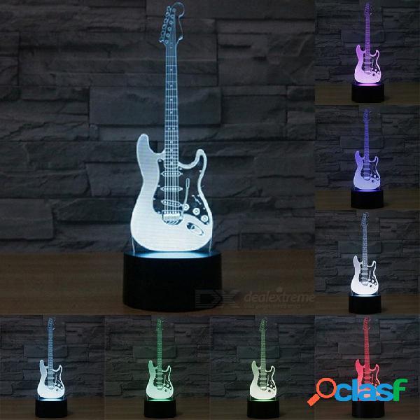 Forma creativa de la guitarra eléctrica 3d luz cambiante de la noche del escritorio del sensor táctil del tacto 7-color