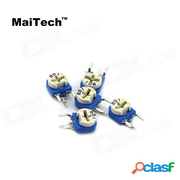 Maitech 10 tipos de especificaciones comunes paquete de resistencia ajustable - azul + blanco (50 unidades)