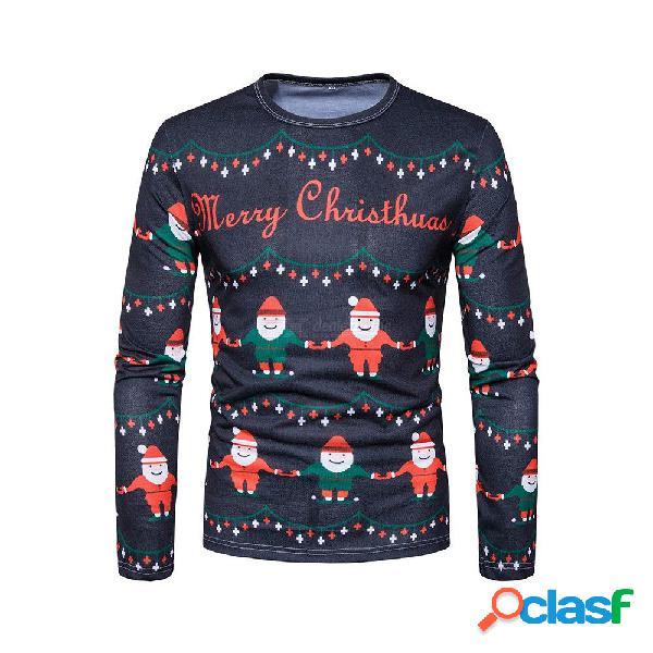 New fashion 3d printing men o-neck t shirt christmas printing top men's long sleeve shirts j-b7-dg17