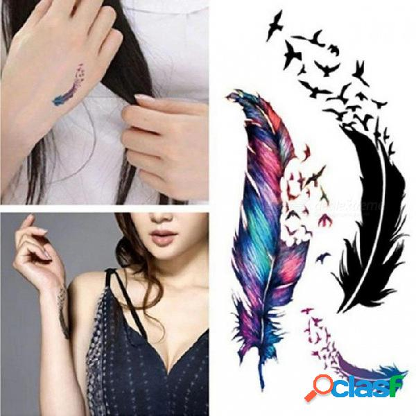 Pluma impermeable pegatina del tatuaje de la frescura pequeña colorido tridimensional pluma gansos pegatinas temporales