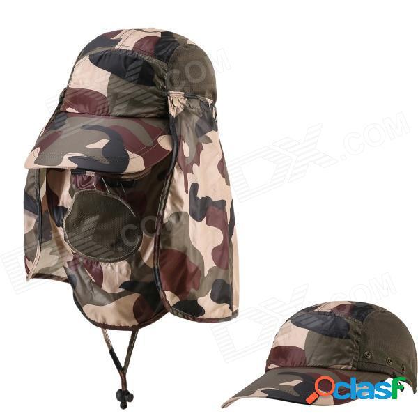 Protección al aire libre de protección ultravioleta algodón brimmed hat w / cuello de protección - camuflaje