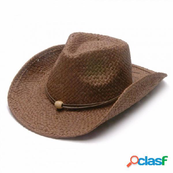 Hombres jazz sombrero vaqueros sombreros de paja best mens western rafia sombrero de paja nuevas mujeres cowgirls roll-up verano gorras de sol caffee