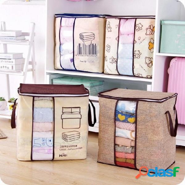 Organizador portátil no tejido del almacenaje del bolso del almacenamiento de la ropa organizador plegable del armario para la ropa de cama de la manta del edredón de la almohada