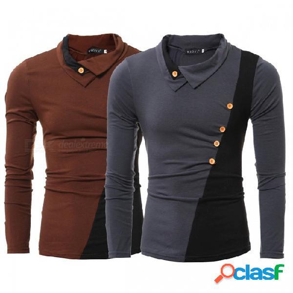 Remiendo de la moda cuello vuelto abajo camiseta de manga larga con estilo botón lateral ajustado camiseta para hombres gris oscuro / m