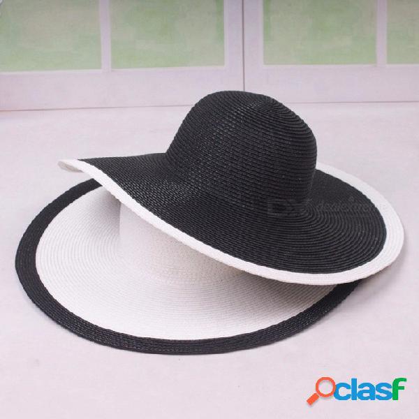 Sombrero de paja de ala ancha para mujer tapa plana sombreros de sol de verano señoras de trigo sombreros de paja chica morena chapeau playa blanco