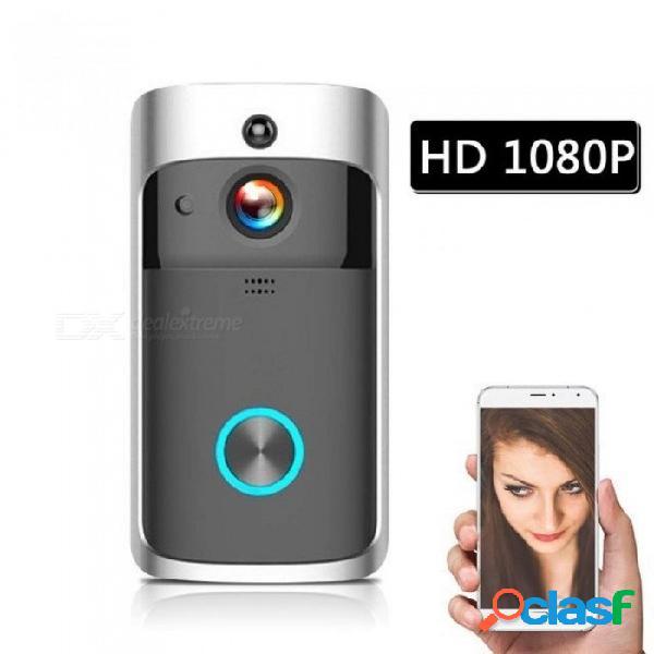 Wifi inteligente timbre de seguridad inalámbrico inteligente 1080p videoportero de grabación visual video de la puerta de la casa remota de monitoreo de visión nocturna de plata