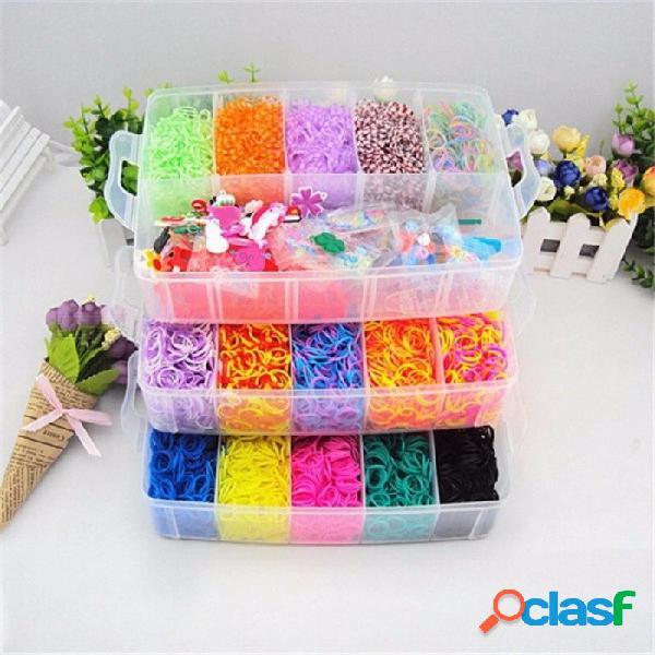 15000 unids bandas de goma de recarga de arco iris bandas telar kit de almacenamiento de la caja del organizador de los niños juguetes educativos multicolores