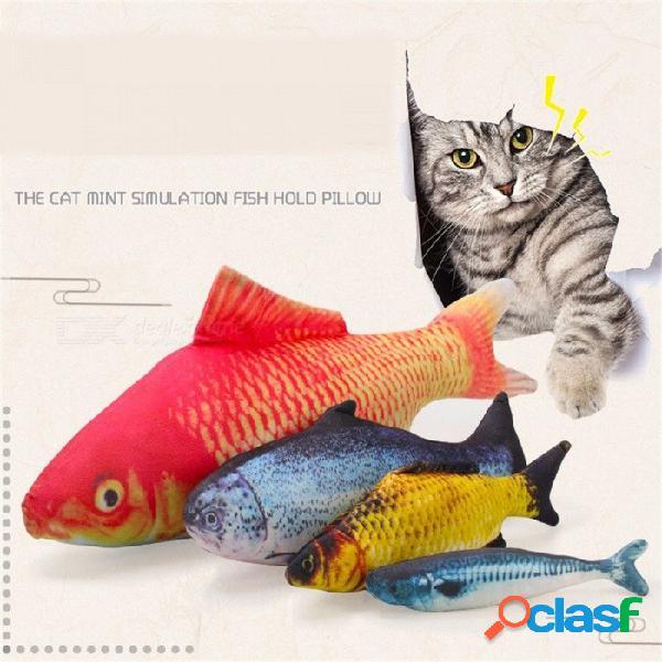 2018 gracioso realista forma de pez mascota gato gatito simulación linda peces jugando juguete catnip juguetes almohada 20 cm