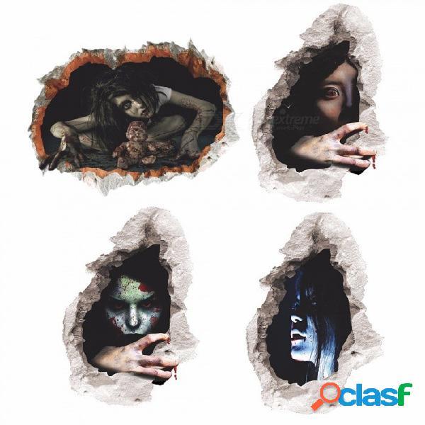 3d sangrienta niños muñeca horrifying mujeres pegatinas de pared para la decoración de halloween home tatuajes de arte etiqueta de la ventana extraíble multi / tipo 3