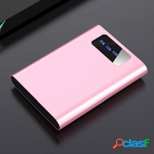 Banco de energía móvil con batería de li-polímero mini 5000mah portátil con usb doble, indicador para teléfono móvil negro