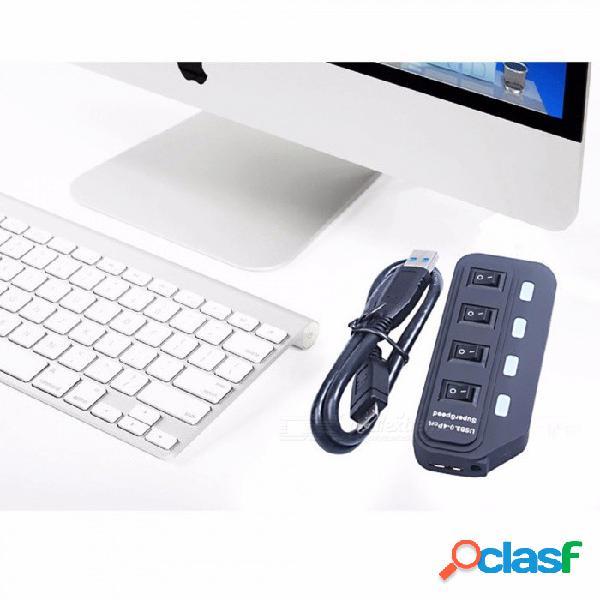 Concentrador usb 3.0 hub de alta velocidad usb 4 puertos con interruptores independientes, divisor usb negro