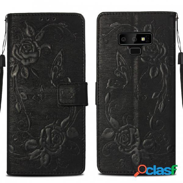 Funda protectora de cuero para el teléfono billetera de pu con soporte de tarjeta para samsung galaxy note 9