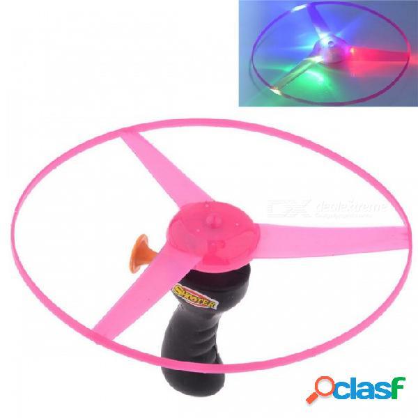 La cadena de tirón divertida led colorido se enciende para arriba el disco del platillo volante del disco volador, juguete de los niños - negro + rosa