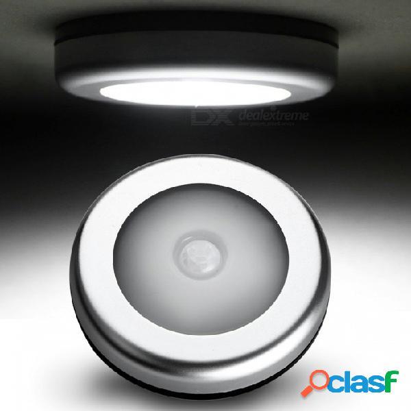 Luz nocturna activada por movimiento ultrafino de 6 led, lámpara de armario de pasillo de armario led - plata