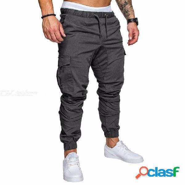 Nueva moda delgado color sólido bolsillo decoración hombres lápiz ocasional pantalones con cordón pantalones diseñador joggers