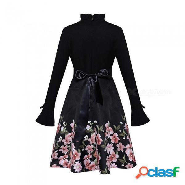 Otoño vestido de una nueva línea de moda delgado estampado floral remiendo largo flare manga cuello alto vestidos para mujeres negro / xxl